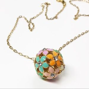 J. Crew Pastel Flower Ball Pendant Necklace